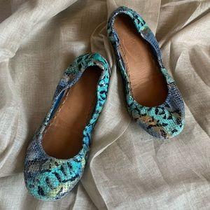 TIEKS Azure Snake Ballet Flats